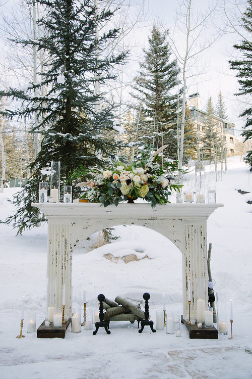 Ceremony backdrop- dreamy winter wedding.