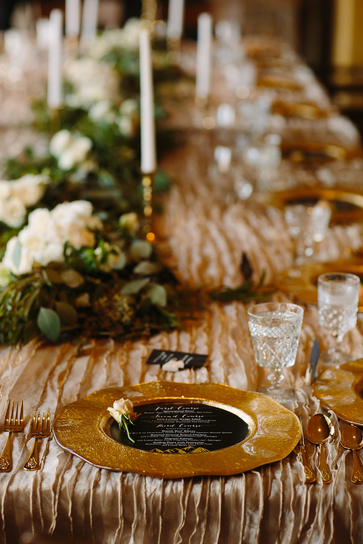 Gold place settings.