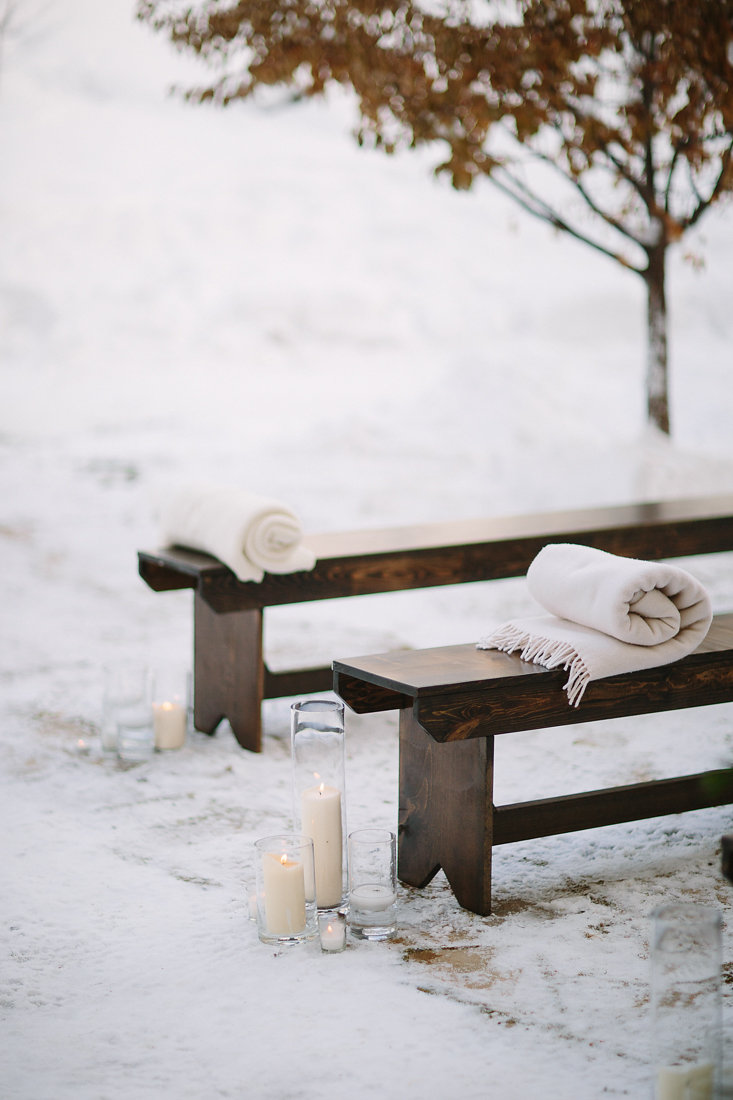 Our rustic benches combined with a variety of candles added perfect contrast to the cold day.